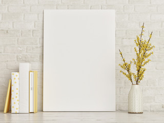 Mock up poster with books and vase composition, hipster background, 3d render, 3d illustration