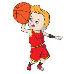 cartoon boy playing basketball - shade