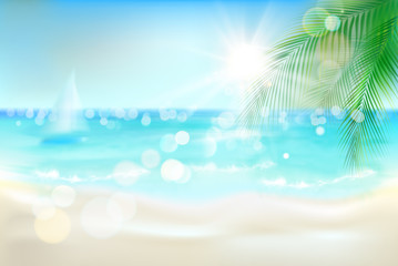 View of the sunny beach with a palm tree. Vector Illustration.