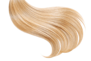 Blond hair, isolated on white background. Long ponytail Wall mural