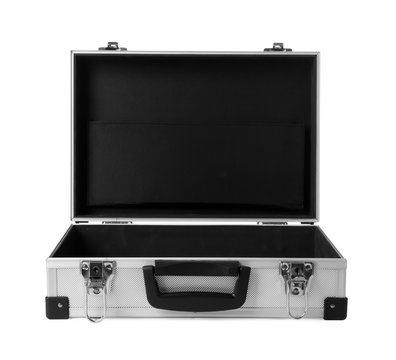 Open aluminum hard case on white background