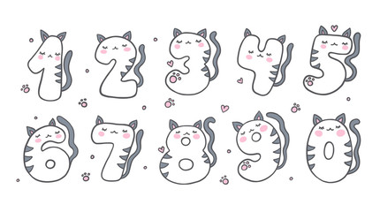 Numbers With Cartoon Cat Character Vector Set