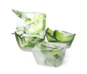Ice cubes with cucumber slices and rosemary on white background