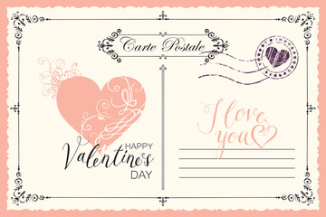 Retro valentine card in form of postcard with pink heart and postmark. Romantic vector card in vintage style with place for text, calligraphic inscription I love you and words Happy Valentine's day