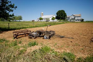 Amish Farm Equipment in Field
