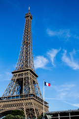 The Eiffel Tower and the Frence Flag
