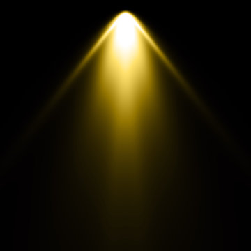 Isolated yellow spotlight effect on black background. Light show. Light from the top clipart.