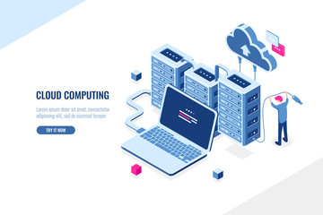 Big data source, data center, cloud computing and cloud storage isometric concept, server room rack, man engineer, flat vector illustration, blue and pink
