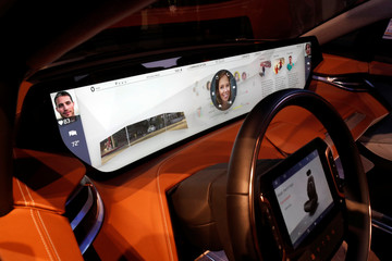 A dashboard video screen is displayed in a Byton M-Byte electric vehicle during the 2019 CES in Las Vegas