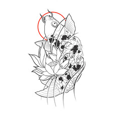 Hand drawn koi fish with lotus flower and water wave tattoo design, Digital art painting, japanese tattoo style, tattoo flash image.