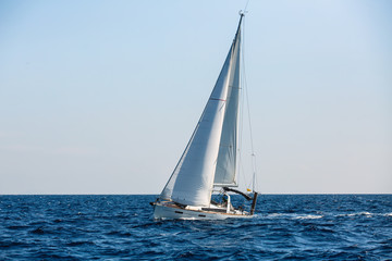 Wall Mural - Sailing yacht boat in the Aegean sea. Luxury vacation.