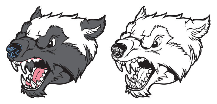 Wolverine Mascot Head Growling Vector Cartoon Illustration