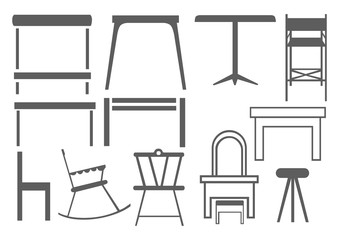 Set Of Editable Furniture Icons. Can Be Used For Web, Mobile, UI And Infographic Design. Vector illustration isolated on white.