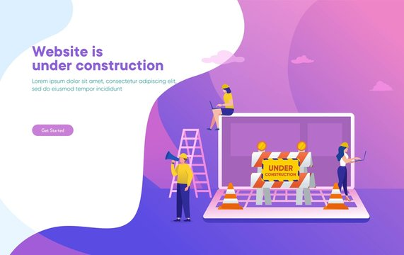 Website is under construction vector illustration concept, developer fixing website, sytem update server can use for, landing page, template, ui, web, mobile app, poster, banner, flyer