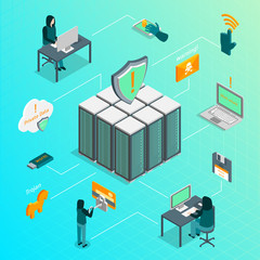 Hacker Attack Infographics Concept 3d Isometric View. Vector