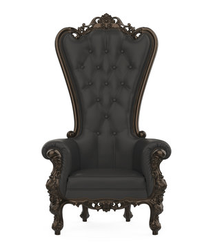 Black Throne Chair Isolated
