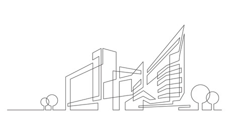 abstract architecture city skyline with trees - single line vector graphics on white background Wall mural