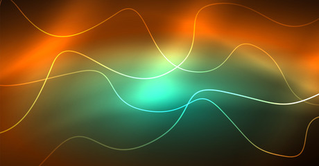 Abstract shiny glowinng color wave design element on dark background - science or technology concept