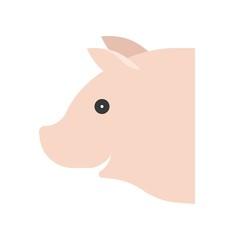 Pig head vector, Farm animal flat style icon