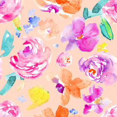 Wild, Colorful Watercolor Flower Pattern. Seamless Background Floral Wallpaper