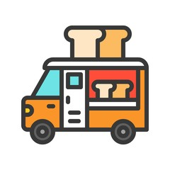 Bread truck vector, Food truck filled style editable stroke icon