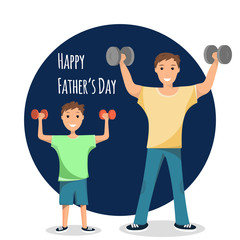 Happy Man and Child Standing Training Bodybuilding