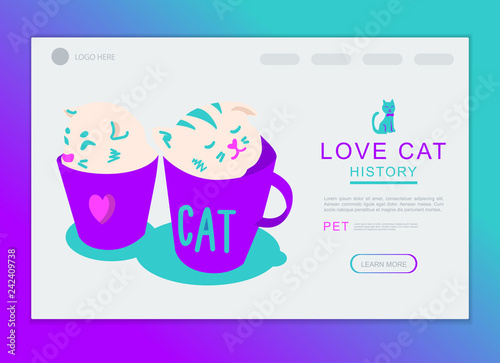 Cats In Cup Character Vector Design For Landing Page And Background