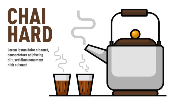 Vector illustration of Tea Pot and Tea Glasses. Indian Chai Kettle and Chai glasses. Chai Ad concept