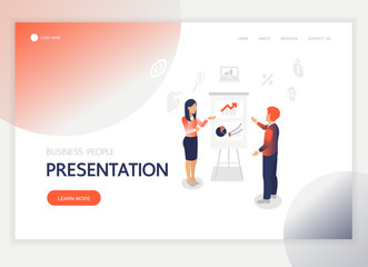 Isometric business people presentation character vector design. For landing page, web banner, infographics and background template. no2