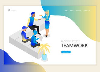 Isometric business people teamwork character vector design. For landing page, web banner, infographics and background template. no2