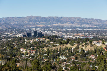 Clear day view of Woodland Hills and Warner Center in the west San Fernando Valley area of Los Angeles, California.