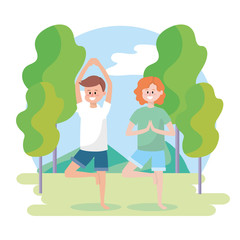 man and woman practice fitness exercise