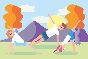 man and women training yoga exercise
