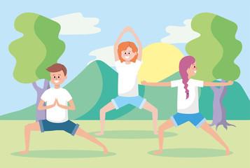 man and women training yoga exercise pose