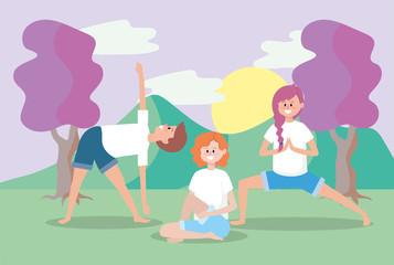 man and women training yoga balance