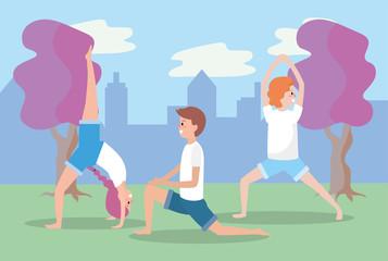 man and women training yoga balance position