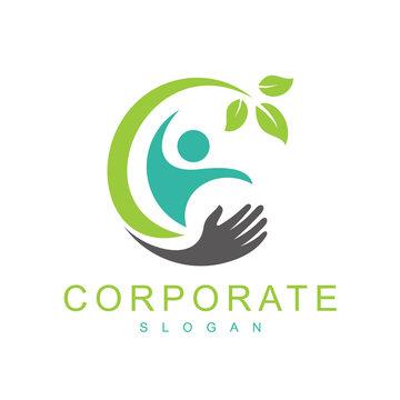 health logo template, healthy people logo design