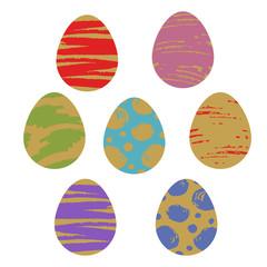 Pattern Easter egg graphic set color dirty brush illustration vector