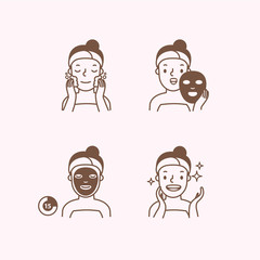Step of face masking half body monochrome icon illustration vector on pink background. Beauty concept.