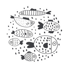 Cute handdrawn fish set isolated on white