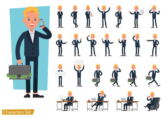 Set of business people wearing blue suit and working character vector design. Presentation in various action with emotions, running, standing and walking. no2