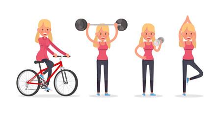 teen girl doing exercises character vector design