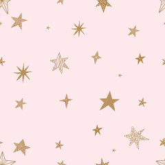 Cute gold stars. Seamless vector pattern. Seamless pattern can be used for wallpaper, pattern fills, web page background, surface textures.