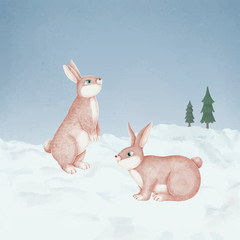 Fototapete - Hand-drawn pink rabbits in a snowy forest