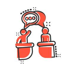 Politic debate icon in comic style. Presidential debates vector cartoon illustration pictogram. Businessman discussion business concept splash effect.