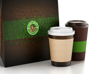 Take away coffee cup and paper bag isolated on white. 3D illustration