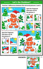 New Year or Christmas visual puzzles with gingerbread man. Find the differences between the mirrored pictures. Spot the wrong fragments. Answers included.