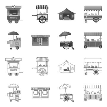 Vector illustration of market and exterior icon. Collection of market and food stock vector illustration.