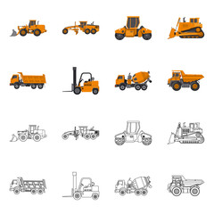 Isolated object of build and construction icon. Collection of build and machinery stock symbol for web.
