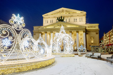 Tuinposter Aziatische Plekken Moscow, Russia, New Year. Christmas. New year's installation at the Bolshoi Theatre.